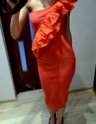czerwona koralowa sukienka midi MIDI 38 40 42 M L XL vero moda sylwester slub bal