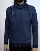 Sweter bluza niebieska nietypowa S M 36 38