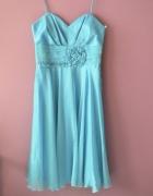 błękitna sukienka wesele uroczystość S M 36 38