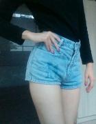jeansowe spodenki szorty z wysokim stanem XS S 34