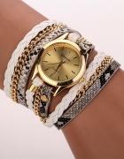 Zegarek damski długi pasek biały złoty