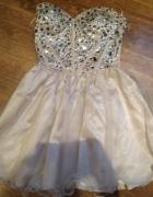 Bezowa sukienka tiul kryształki