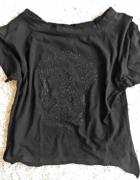 czarna koszulka M z czaszką z dżetami
