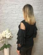Elegancka bluzka sweterkowa czarna siateczka falbany