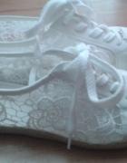 Koronkowe buty białe trampki