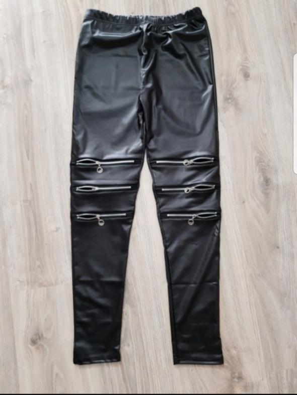 czarne legginsy z suwakami