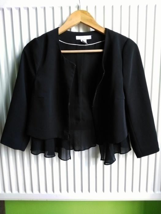 Czarna marynarka z falbanką H&M rozmiar S