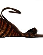 Brązowe Sandały Koturny z Cekinami 40 41