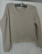 ecru beżowy sweterek crop top M