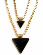naszyjnik łańcuch miętowy czarny trójkąty