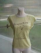 Pudrowo żółty tshirt Topshop Princess Kitty L