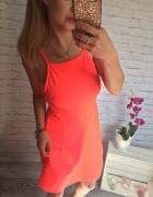 neonowa sukienka HM cienkie szelki