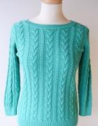 Sweter Zielony Warkocze H&M S 36 Warkocz Basic