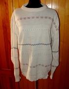 Nowy tani ciepły jasny sweterek bezowy kremowy xl