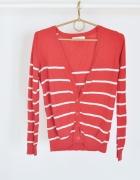 sweter sweterek forever 21 w paski 36 S pasiak czerwony neon kardigan rozpinany