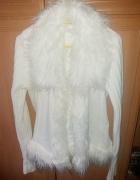 Kremowy Sweterek Narzutka Futerko Vero Moda CUDOO
