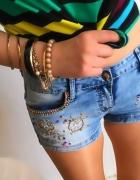 Jeansowe spodenki Damskie z aplikacją biżuteryjną S