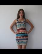 Seksowna sukienka mini na ramiączkach w azteckie wzory XS S...