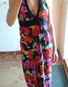 letnia sukienka dluga kolorowa w kwiaty na plaze 38 40 42 L