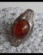 Imago artis srebrny pierścień z bursztynem filigran