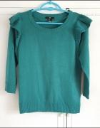 Sweter H&M S 36 morski zielony fabany na ramionach ściągacz sweterek