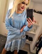 Niebieska luzna sukienka tunika