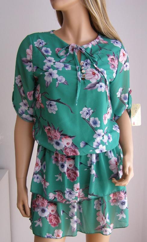 sukienka italia włoska kwiaty falbanka zwiewna S M