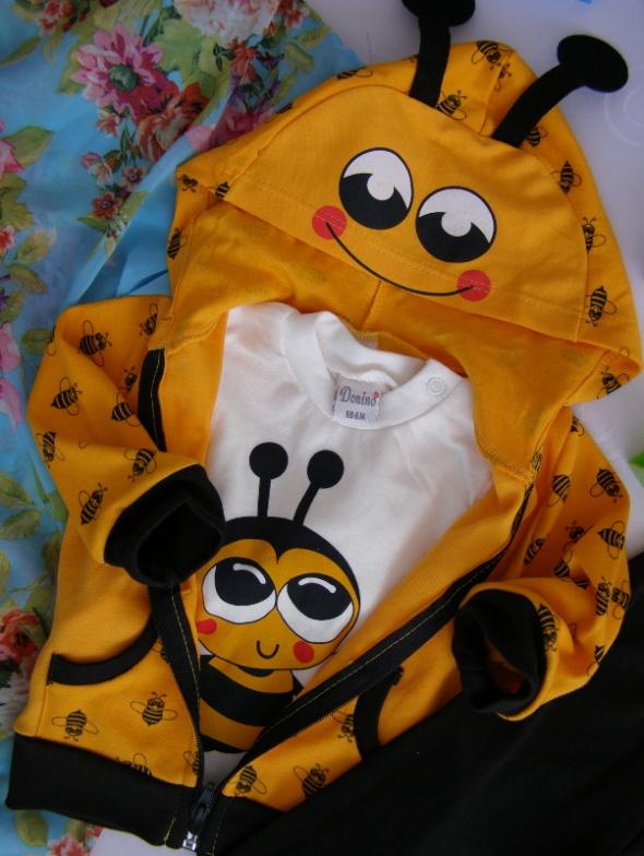 komplet zestaw dres pszczółka 68cm 6m 74cm 9m wiosna