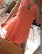 Sukienka krótki kombinezon neonowy różowy