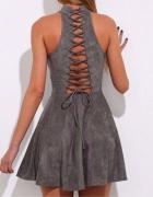 Szara ala zamszowa sznurowana sukienka na plecach