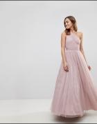 Sukienka suknia maxi długa tiul tiulowa ASOS 34 XS odkryte plec...