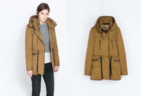 ZARA WOMAN kurtka parka płaszcz pikowana beż 38 M w Odzież