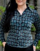 czarna bluzka w turkusowe wzory