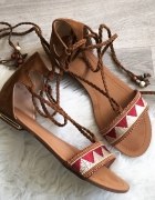 Karmelowe sandały Damskie Boho 39