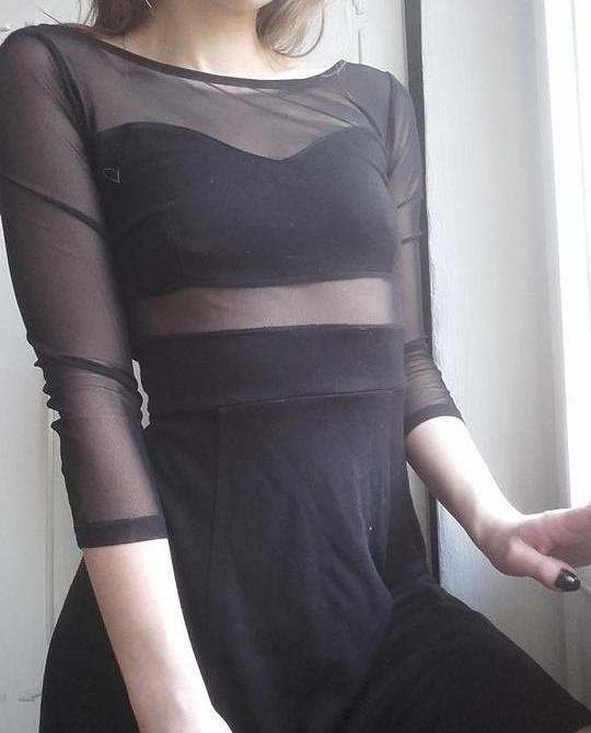 adeea9400d czarna sukienka z elementami z siateczki HM XS w Suknie i sukienki ...
