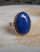 stary srebrny pierścionek lapis lazuli