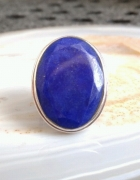 srebrny duży pierścionek lazuryt