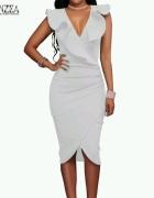 śliczna biała midi sukienka dekolt s m