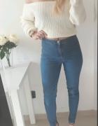 Spodnie wysoki stan rurki dopasowane denim elastyczne L