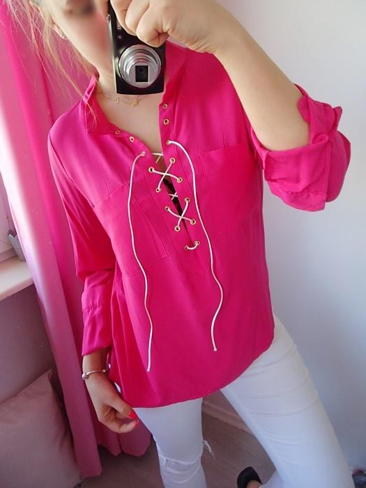 Koszula fuksja amarant różowa wiąZany dekolt