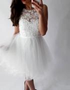 Krótka suknia ślubna sukienka na poprawiny Rozmiar XS S...