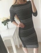 Sukienka dopasowana midi pasiak zip SM