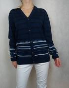 Granatowy kardigan w paski sweter na guziki Brave Soul