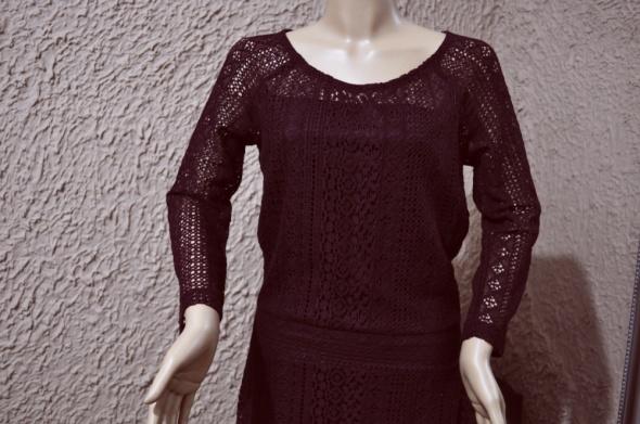 Suknie i sukienki cała koronkowa bordowa 38