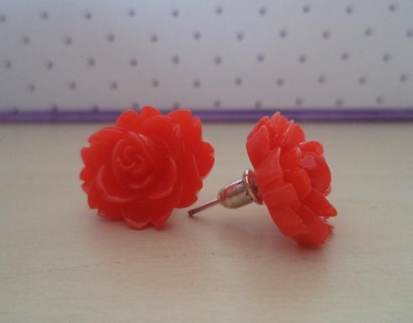 Kolczyki czerwone kwiatki