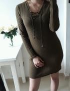 Sukienka prążek sweterkowy wiązany dekolt khaki LXL