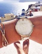 Zestaw zegarek złoty bransoletka obręcz kokardka