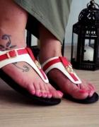 Eleganckie sandałki płaskie japonki czerwone 41