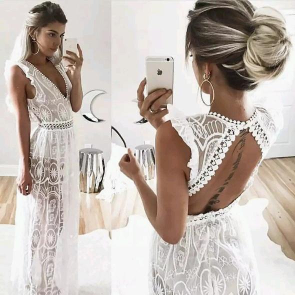 plażowa biała sukienka koronka cudo s w Suknie i sukienki