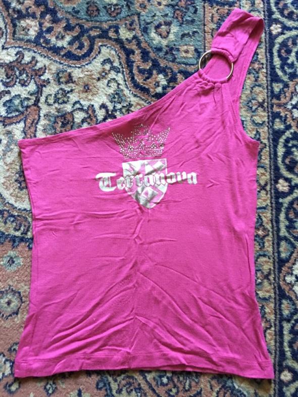 Bluzki bluzeczka rozowa na ramie z nadrukiem